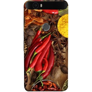 FUSON Designer Back Case Cover For Huawei Nexus 6P :: Huawei Google Nexus 6P (Set Of Indian Spices On Wooden Table Powder Spices)