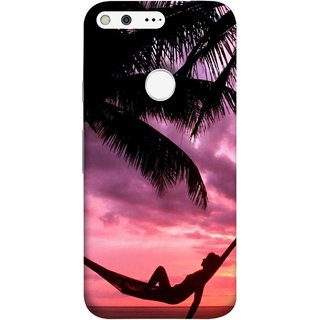 FUSON Designer Back Case Cover For Google Pixel (Sunset Beach Hammock Chillout Wallpapers Palmtrees)