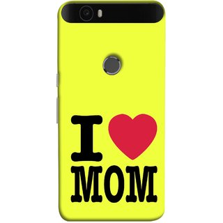 FUSON Designer Back Case Cover For Huawei Nexus 6P :: Huawei Google Nexus 6P (Yellow Background Mother Hearts Pure And True Love)