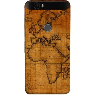 FUSON Designer Back Case Cover For Huawei Nexus 6P :: Huawei Google Nexus 6P (World Map Altitude And Longitude Countries India )