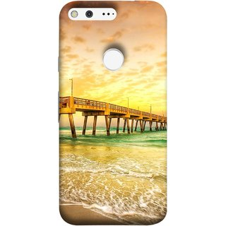 FUSON Designer Back Case Cover For Google Pixel (Jetty Wharf Clear Water Newzeland India Beaches)