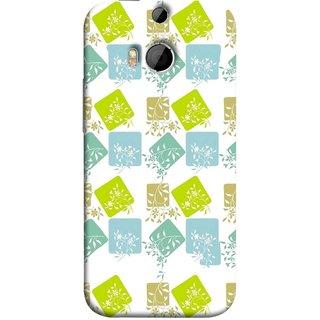 FUSON Designer Back Case Cover For HTC One M8 :: HTC M8 :: HTC One M8 Eye :: HTC One M8 Dual Sim :: HTC One M8s (Pixel Mosaic Background Squares Tree Plants Garden )