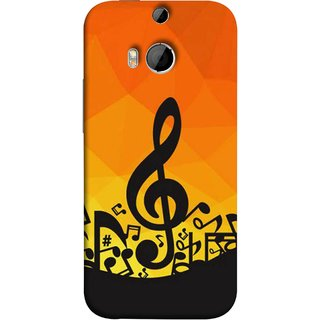 FUSON Designer Back Case Cover For HTC One M8 :: HTC M8 :: HTC One M8 Eye :: HTC One M8 Dual Sim :: HTC One M8s (Disco Inferno Abstract Background With Musical Notes)