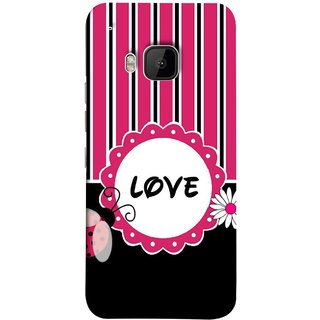 FUSON Designer Back Case Cover For HTC One M9 :: HTC One M9S :: HTC M9 (Pink Black White Vertical Vector Strips Lines Designs)