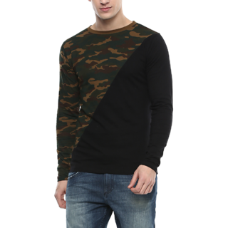 Urbano Fashion Men's Military Camouflage Black & Green Full Sleeve Cotton T-Shirt (Size : Small)