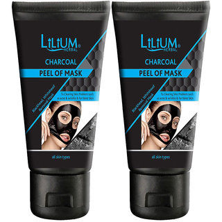 Lilium Herbal Charcoal Peel Of Mask Blackhead,Whitehead Removal Mask (Pack Of 2)