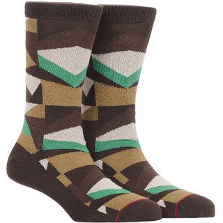 Soxytoes Geometric Crew Length Men's Cotton Socks 1 Pair