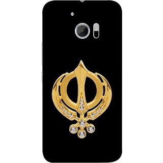 FUSON Designer Back Case Cover For HTC 10 :: HTC One M10 (Khalsa Khanda Guru Nanak Sikh Pendant Diamonds)
