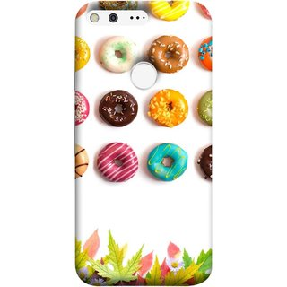 FUSON Designer Back Case Cover For Google Pixel (Cute Food Donuts Themes For Parties Soft &Amp)