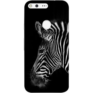 FUSON Designer Back Case Cover For Google Pixel XL (Close Up Portrait Of A Baby Zebra Long Ears Strips)