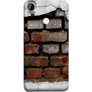 FUSON Designer Back Case Cover For HTC Desire 10 Pro (Peeling Plaster Bricks White Cement Broken Small Big)
