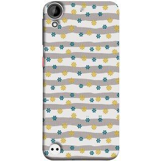 FUSON Designer Back Case Cover For HTC Desire 530 (Grey Yellow Small Checks Background Fresh Flowers)