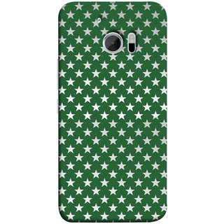 FUSON Designer Back Case Cover For HTC 10 :: HTC One M10 (Small Lot Of Stars Green Back Shining Glossy)