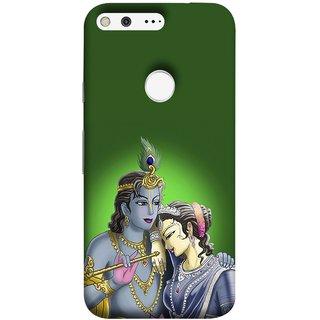 FUSON Designer Back Case Cover For Google Pixel XL (Peacock Feather Bansuri Flute Gold Jewellery Best Couple)