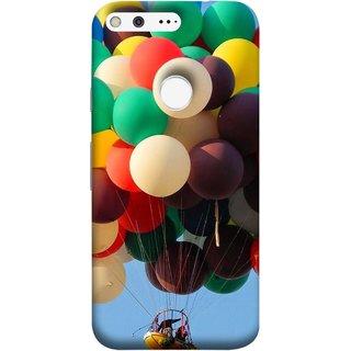 FUSON Designer Back Case Cover For Google Pixel (Up Up Sky Blue Colourful Balloons Boat Man )