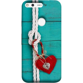 FUSON Designer Back Case Cover For Google Pixel (Heart Shape Rope Stuffed Toy Text Tied Knot Vintage)