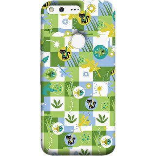 FUSON Designer Back Case Cover For Google Pixel (Pillow Bedsheet Designs Fish Grass Cat Yellow Flower Pattern)