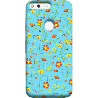 FUSON Designer Back Case Cover For Google Pixel (Grey Yellow Red Small Checks Background Fresh Flowers)