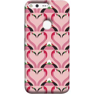 FUSON Designer Back Case Cover For Google Pixel (Flamingos Head In Heart Shape Tattoo Design)