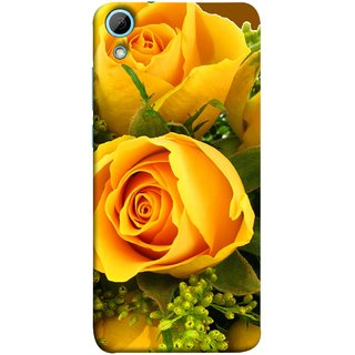 FUSON Designer Back Case Cover For HTC Desire 828 Dual Sim (Friendship Yellow Roses Chocolate Hearts For Valentines Day)