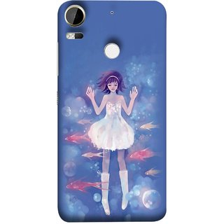 FUSON Designer Back Case Cover For HTC Desire 10 Pro (Blue Water Fish Big Bubbles Shells Doll Dress )