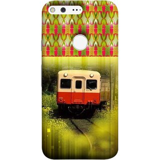FUSON Designer Back Case Cover For Google Pixel (Old Trains Sunshine Yellow Flowers Express Mail )