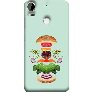 FUSON Designer Back Case Cover For HTC Desire 10 Pro (Flying Burger Ingredients Onion Cheese Tomatos )