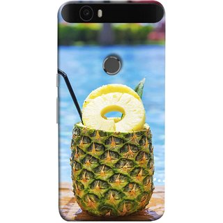 FUSON Designer Back Case Cover For Huawei Nexus 6P :: Huawei Google Nexus 6P (Fresh Pineapple Cocktails At Swimming Pool Blue Waters )