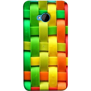 FUSON Designer Back Case Cover For HTC M7 :: HTC One M7 (Bright And Beautiful Colour Strips And Band Wave )