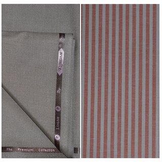 Kundan Sulz Gwalior Men's Executive Pure Cotton Linen Stripe Pattern Shirt & Fancy Soft & Smooth Light Cadbury Colour Trouser Fabric Combo Set ( 1 Pant Shirt Piece for Men )
