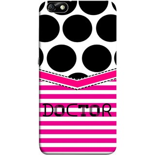 FUSON Designer Back Case Cover For Huawei Honor 4X :: Huawei Glory Play 4X (Pink Design Paper Big Black Circles Bubbles Doctor Surgen)