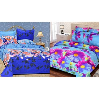 Beautiful 3d combo cotton 2 Double bedsheet with 4 pillow cover
