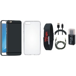 Nokia 3 Soft Silicon Slim Fit Back Cover with Memory Card Reader, Silicon Back Cover, Digital Watch, USB Cable and AUX Cable