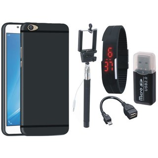 Nokia 3 Silicon Slim Fit Back Cover with Memory Card Reader, Selfie Stick, Digtal Watch and OTG Cable