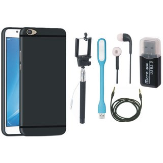 Nokia 3 Silicon Slim Fit Back Cover with Memory Card Reader, Selfie Stick, Earphones, USB LED Light and AUX Cable