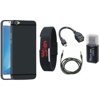 Nokia 5 Soft Silicon Slim Fit Back Cover with Memory Card Reader, Digital Watch, OTG Cable and AUX Cable