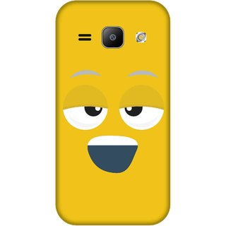 Print Opera Hard Plastic Designer Printed Phone Cover for Samsung Galaxy J1 2015 Smiling face yellow