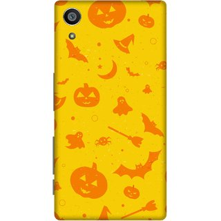 Print Opera Hard Plastic Designer Printed Phone Cover for Sony Xperia Z5 Yellow and orange halloween texture