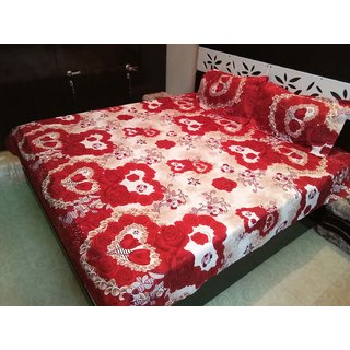 Double bedsheet in Poly Cotton Fabric with 2 Pillow Covers