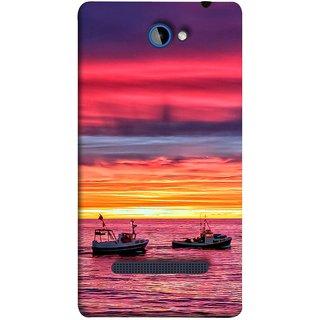 FUSON Designer Back Case Cover For HTC Windows Phone 8S :: HTC 8S (Red Sky Horizon Fishing Boats Sun Shining Happy)