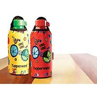 Tupperware Aquasafe  Bottle 500 Ml Set Of 2 + 2 Sleeves Colors:Red And Green
