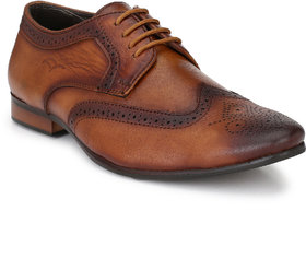 El Paso Men's Tan Full Brogue Genuine Leather Formal Sh