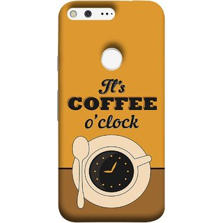 FUSON Designer Back Case Cover For Google Pixel (Yellow Good Morning Tea Coffee Full Cup Black)