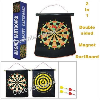 13.5 X 1.5 Inch Magnetic Magnet Reversible Dart Board Two-Sides With 4 Darts