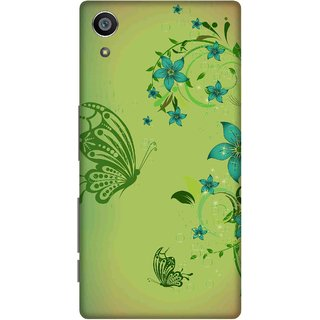 Print Opera Hard Plastic Designer Printed Phone Cover for Sony Xperia Z5 Butterfly and flowers in green
