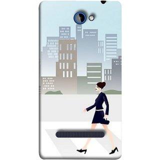 FUSON Designer Back Case Cover For HTC Windows Phone 8S :: HTC 8S (Morden Girl Building Blue Outfit Purse Zebra Cross)