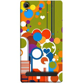 FUSON Designer Back Case Cover For Intex Aqua Power Plus :: Intex Aqua Power + (Multi Designs Squares Circles Hearts Mehandi)