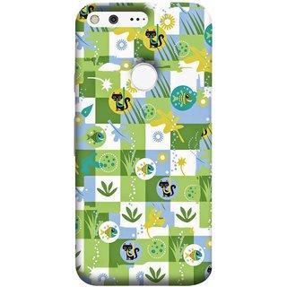 FUSON Designer Back Case Cover For Google Pixel XL (Pillow Bedsheet Designs Fish Grass Cat Yellow Flower Pattern)
