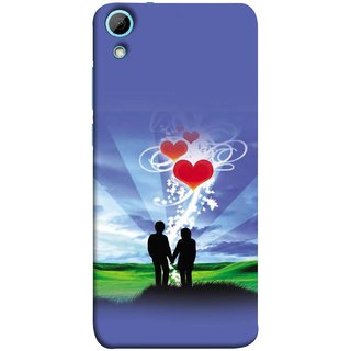 FUSON Designer Back Case Cover For HTC Desire 820 :: HTC Desire 820 Dual Sim ::  HTC Desire 820S Dual Sim :: HTC Desire 820Q Dual Sim ::  HTC Desire 820G+ Dual Sim (Couple Enjoying Beautiful Sunrise Red Hearts Sunshine)