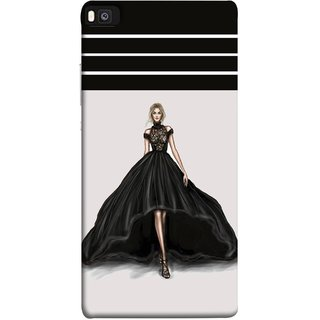 FUSON Designer Back Case Cover For Huawei P8 (On Stage High Heel Cat Walk Black Dress )